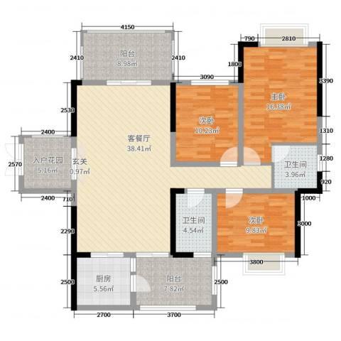 万和乐华花园3室2厅2卫1厨139.00㎡户型图