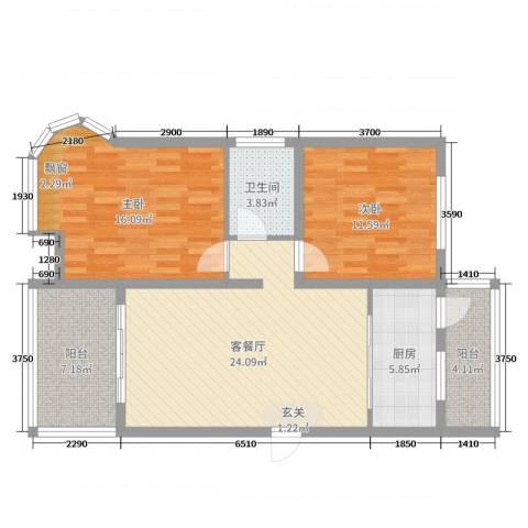 翔宇壹号2室2厅1卫1厨91.00㎡户型图