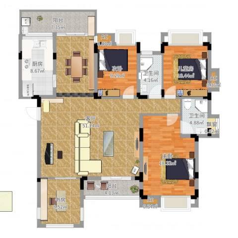 同景国际城恋山4室1厅2卫1厨160.00㎡户型图