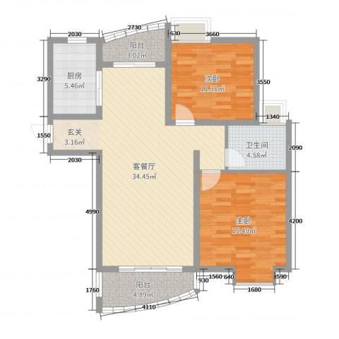 翔宇壹号2室2厅1卫1厨99.00㎡户型图