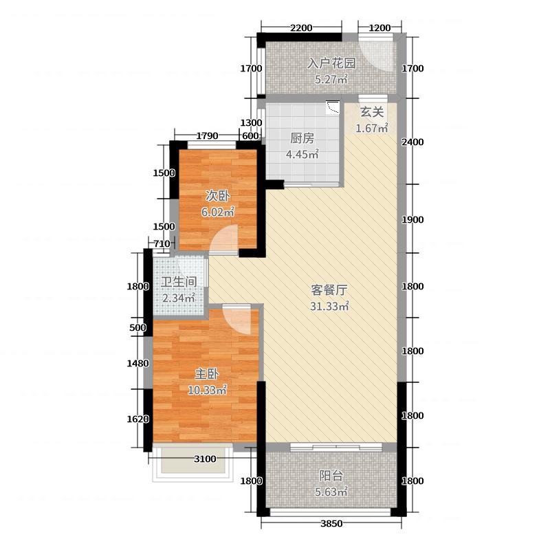 长城雅苑二期88.44㎡2#B户型2室2厅1卫1厨