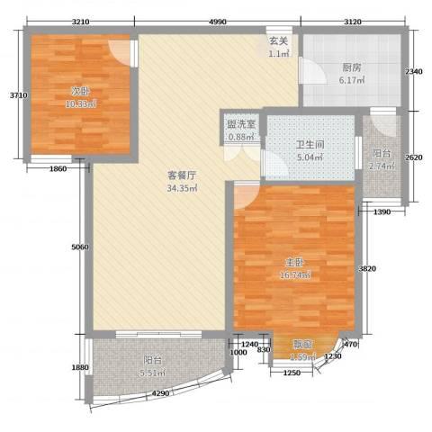翔宇壹号2室2厅1卫1厨102.00㎡户型图