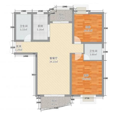 翔宇壹号2室2厅2卫1厨102.00㎡户型图