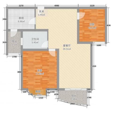 翔宇壹号2室2厅1卫1厨104.00㎡户型图