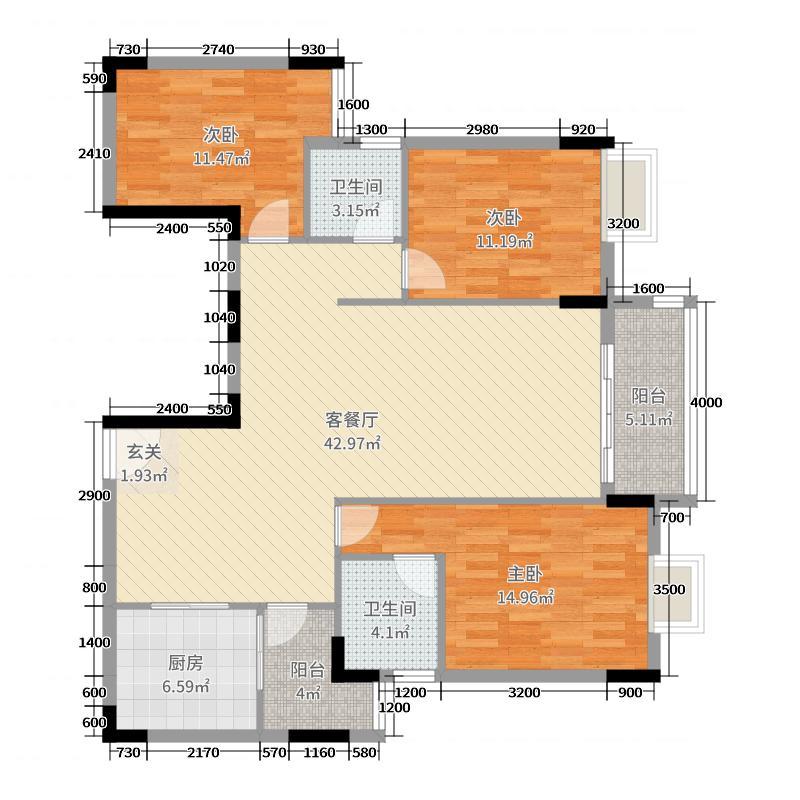津华苑125.33㎡一期02栋3-19层B户型3室3厅2卫1厨