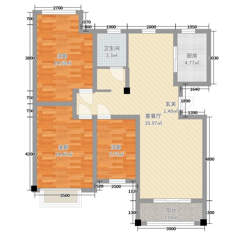 胜建花苑121.00㎡B2户型3室3厅1卫1厨