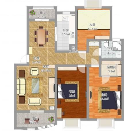 天惠爱丁堡公馆3室1厅1卫1厨127.00㎡户型图