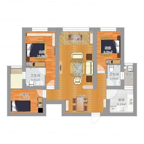 金K海景3室2厅2卫1厨109.00㎡户型图