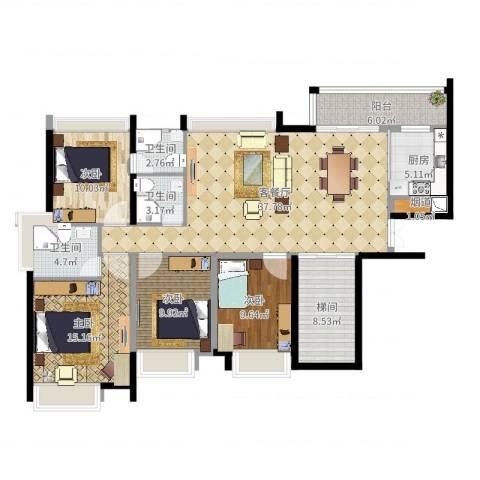 亚洲广场4室2厅5卫1厨142.00㎡户型图