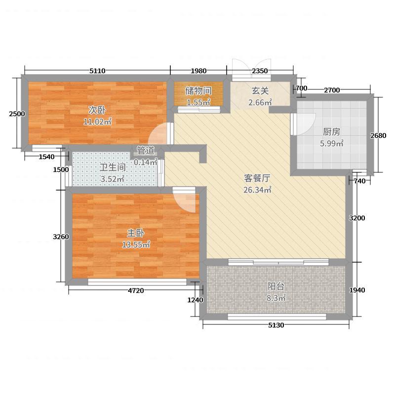 神州河畔景苑88.00㎡一期小高层a1户型2室2厅1卫1厨