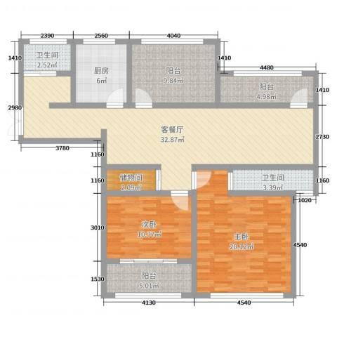 神州河畔景苑2室2厅2卫1厨122.00㎡户型图