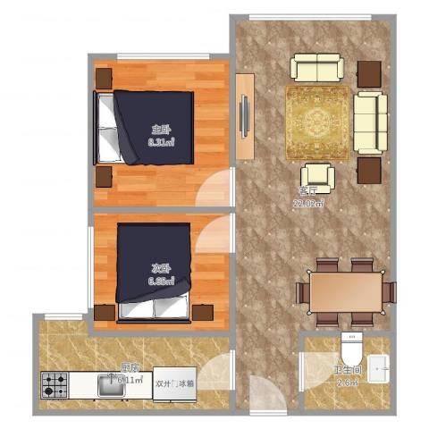 小井润园2室1厅1卫1厨57.00㎡户型图