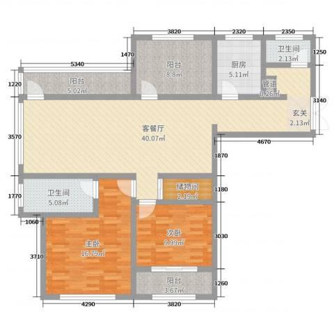 神州河畔景苑2室2厅2卫1厨124.00㎡户型图