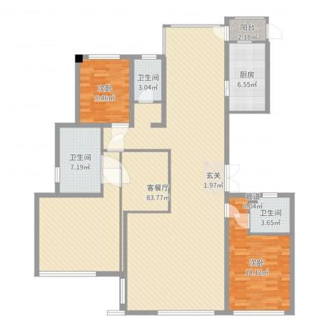 浙建・太和丽都三期2室2厅3卫1厨129.01㎡户型图