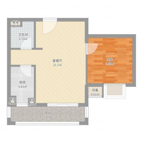 雅戈尔东湖花园1室2厅1卫1厨56.00㎡户型图