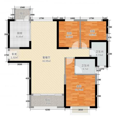 恒大绿洲3室2厅2卫1厨127.00㎡户型图