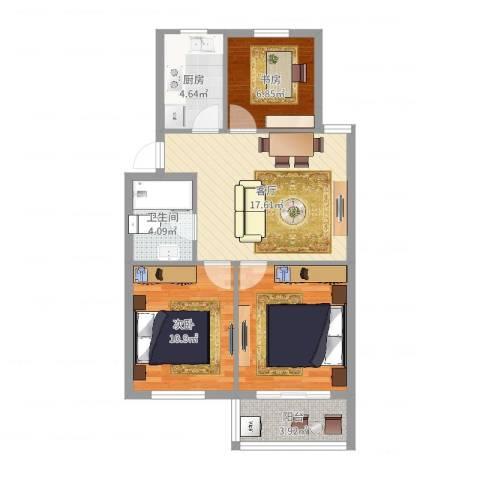 联丰世纪苑2室1厅1卫1厨75.00㎡户型图