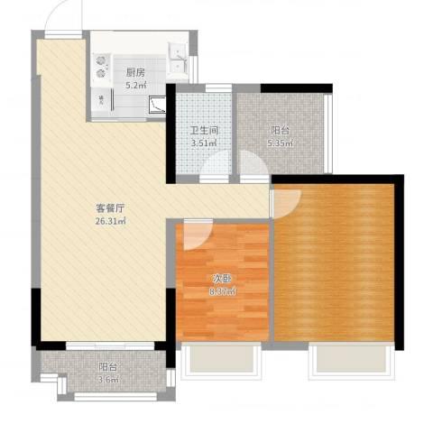 深基天海城市花园1室2厅1卫1厨83.00㎡户型图