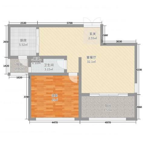 神州河畔景苑1室2厅1卫1厨83.00㎡户型图