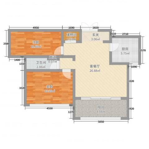 神州河畔景苑2室2厅1卫1厨86.00㎡户型图