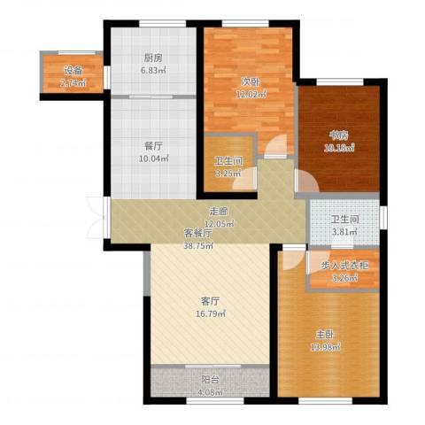 金地紫云庭3室2厅3卫1厨124.00㎡户型图