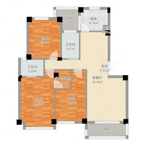 雅戈尔东湖馨园3室2厅2卫1厨108.00㎡户型图