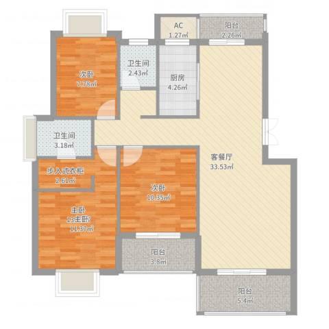 山水清华3室2厅2卫1厨110.00㎡户型图