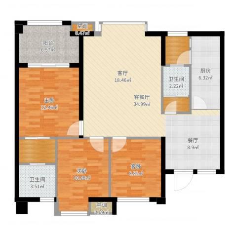 万向西界莎拉3室2厅2卫1厨115.00㎡户型图