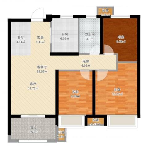 徐州华润绿地・凯旋门3室2厅1卫1厨105.00㎡户型图