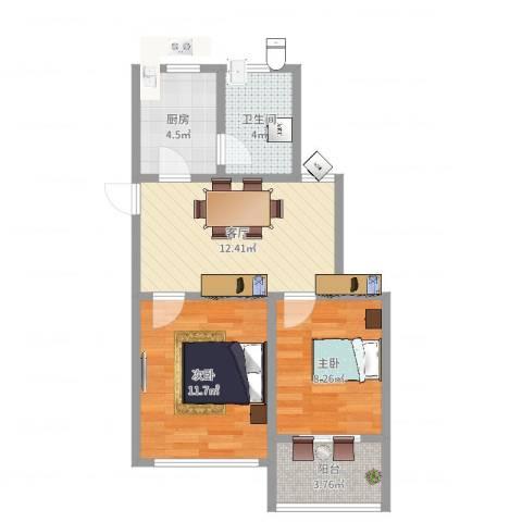 桃浦五村2室1厅1卫1厨56.00㎡户型图