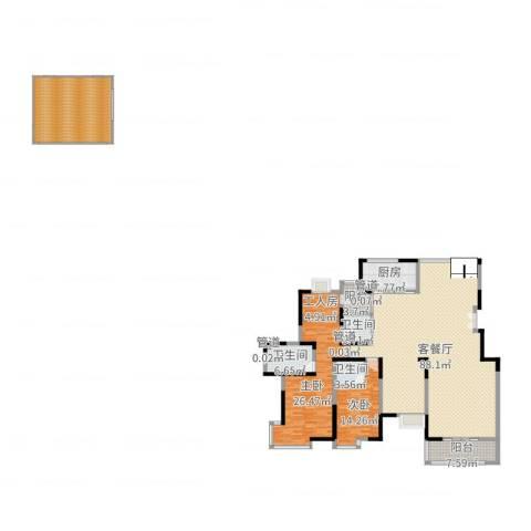 就掌灯别墅2室2厅3卫1厨243.00㎡户型图