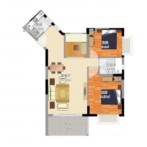新世纪丽江豪园五期牡丹阁2室2厅1卫1厨96.00㎡户型图