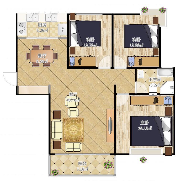 C户型3房2厅1卫