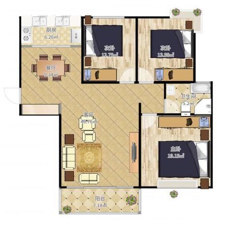 湖畔天城3室1厅1卫1厨139.00㎡户型图