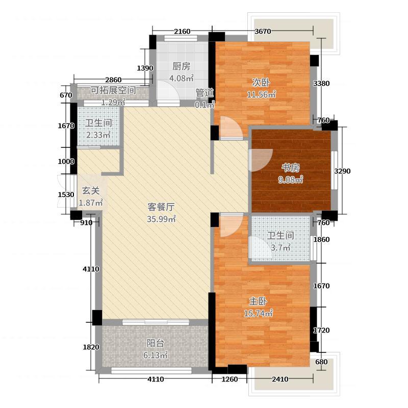 格林公馆二期112.62㎡GB4户型3室3厅2卫1厨