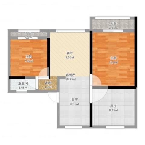 五福新村2室2厅1卫1厨65.00㎡户型图