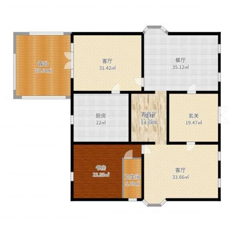 丽高王府1室3厅1卫1厨267.00㎡户型图