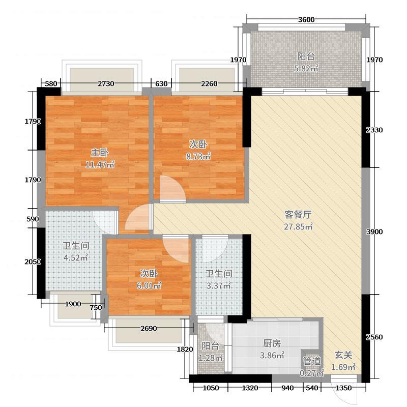 华隆臻华花园97.00㎡19栋01户型3室3厅2卫
