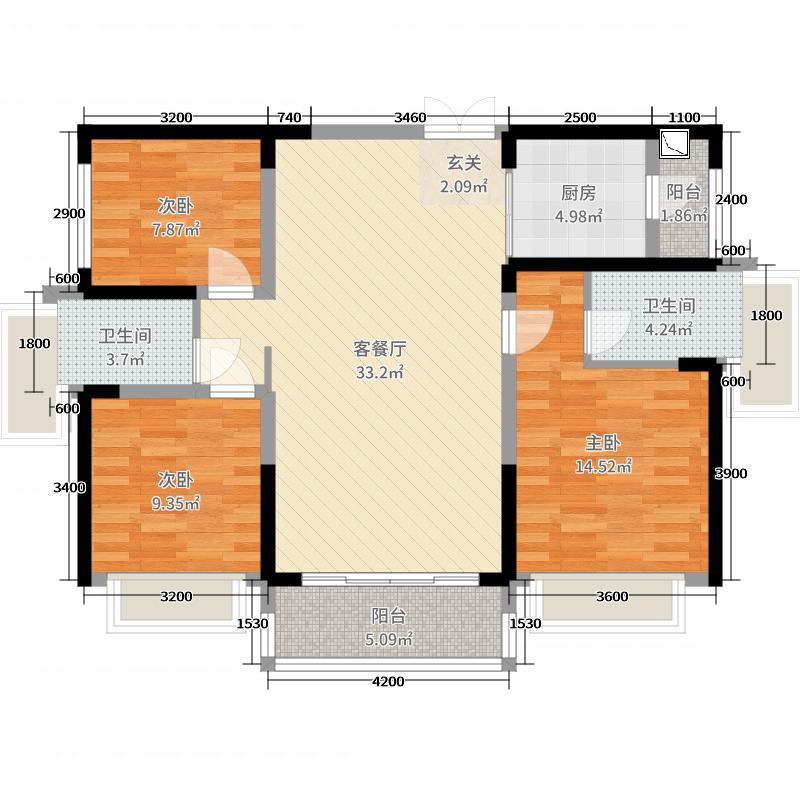 恒荣・城市溪谷115.00㎡02户型3室3厅2卫1厨