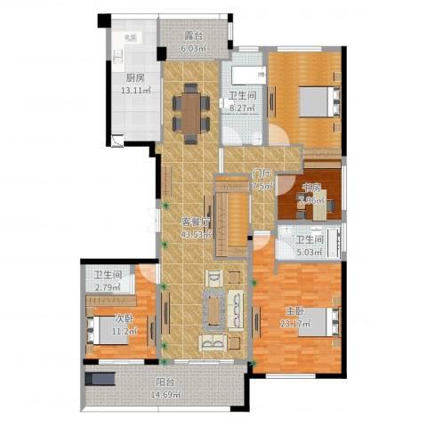 合肥绿城翡翠湖玫瑰园3室2厅3卫1厨206.00㎡户型图