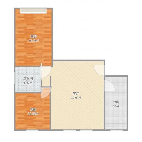 军营凤凰城2室1厅1卫1厨98.00㎡户型图