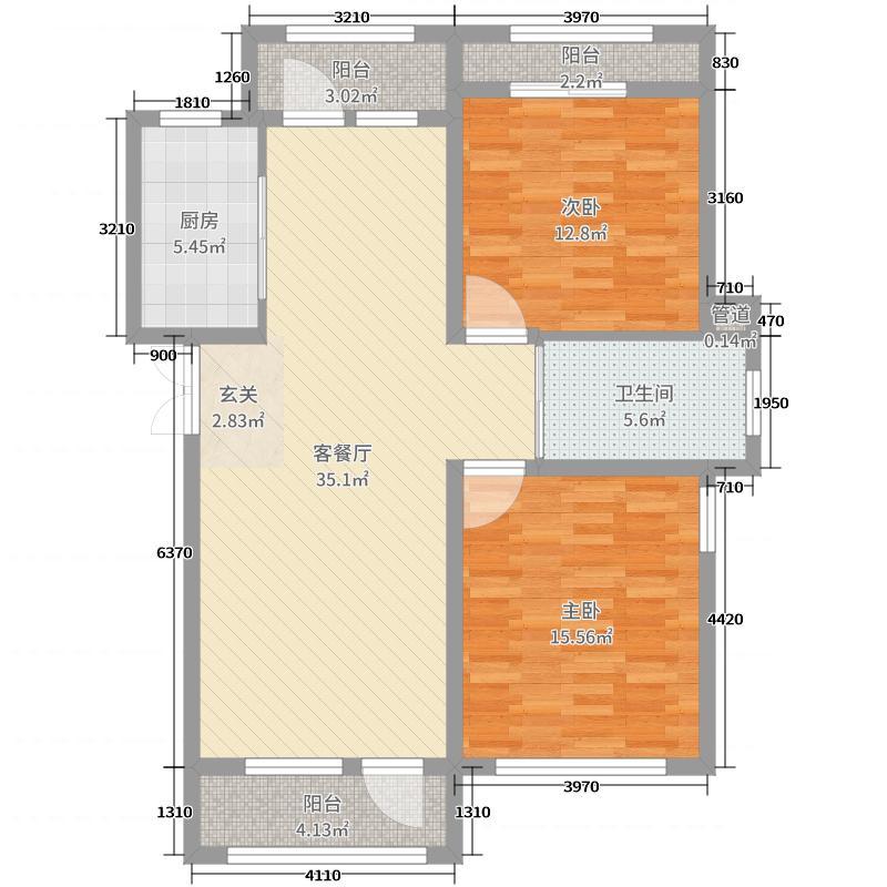 伸马托斯卡纳105.00㎡C1户型2室2厅1卫1厨
