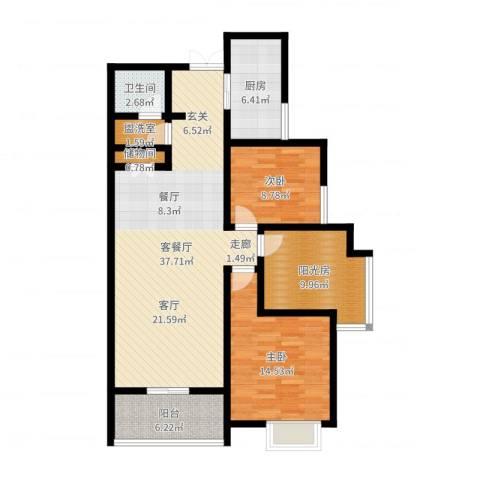 曲江诸子阶2室2厅1卫1厨111.00㎡户型图