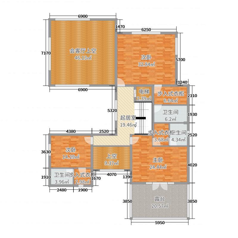 云玺大宅177.29㎡独栋二层平面图户型3室3厅3卫