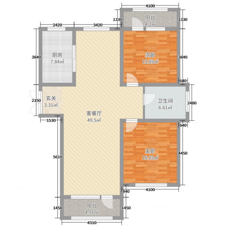 伸马托斯卡纳129.00㎡B户型2室2厅1卫1厨