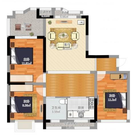 奥克斯盛世华庭3室1厅1卫1厨98.00㎡户型图