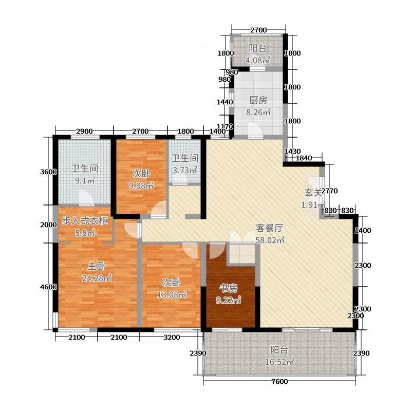 晋合湘水湾195.83㎡8栋-A1户型4室4厅2卫1厨