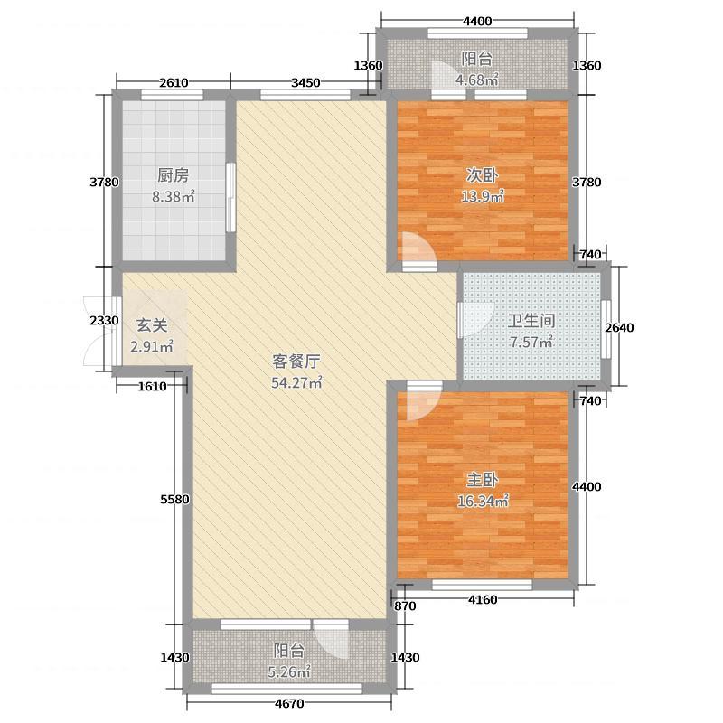 伸马托斯卡纳138.00㎡B1户型2室2厅1卫1厨