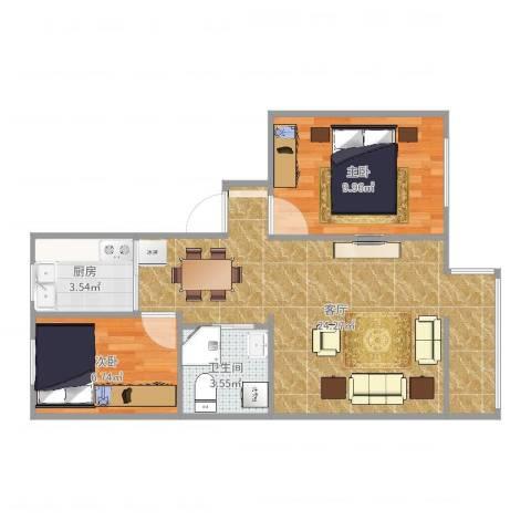 老山西里2室1厅1卫1厨60.00㎡户型图