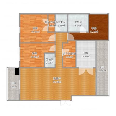 南昌雅颂居3室2厅3卫1厨160.00㎡户型图